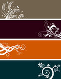 Floral banners set. Set of four floral banners on white background Royalty Free Stock Photo