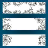 Floral banners set with flowers and berries Stock Photography