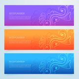 Floral banners set of three in different colors. Vector Stock Photo