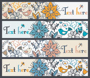 Floral banners, stylish floral banners, set of four horizontal, Royalty Free Stock Photo
