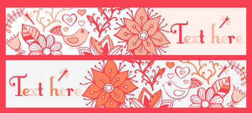 Floral banners, stylish floral banners, set of four horizontal, Stock Images