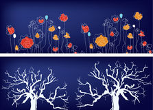 Floral banners with trees and grass ethnic Stock Images
