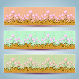 Floral banners vector. Beautiful decor colorful design Stock Photography