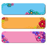 Floral banners vector retro style. Set floral banners of different colors. Vector illustration Stock Photography