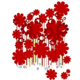 Floral bar codes. Abstract design with flowers and bar codes Royalty Free Stock Images
