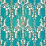 Floral Baroque meander seamless pattern . Greek key ornaments an. D flowers vector illustration