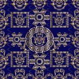 Floral Baroque vector seamless pattern with geometric elements. Abstract dark blue stylish meander background. Modern 3d wallpaper with gold greek key Royalty Free Stock Photography