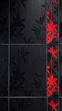 Floral bathroom tiles. Red and black floral bathroom tiles detail with copyspace Stock Images