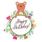 Floral bear frames design brown Royalty Free Stock Image