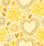 Floral beauty seamless pattern. Digital yellow backdrop with hearts and flowers Royalty Free Stock Images