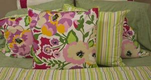 Floral Bed Pillow Arrangement. Stylish Floral Bed Pillow Arrangement Royalty Free Stock Image