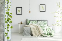 Floral bedclothes and blanket. Bright floral bedclothes and knit blanket on king size bed standing in white bedroom interior with posters Royalty Free Stock Photos