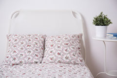 Floral bedding set. In teenage girl room Royalty Free Stock Photos
