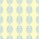 Floral beige seamless pattern. Beige background with light blue and green flower designs. For wallpapers, textile and fabrics Stock Photography