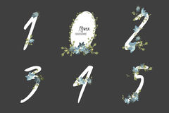 Floral bellflower collection numbers in vintage color. Stock Images