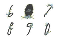 Floral bellflower collection numbers in vintage color. Stock Image