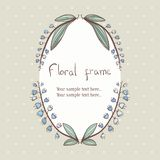 Floral bellflower wreath frame for text Royalty Free Stock Photo