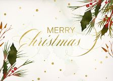 Floral Berry Gold Merry Christmas Stock Photos