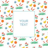 Floral and berry pattern with a banner for text. Watercolor Children`s style. Frame for cards, invitations, holidays stock illustration