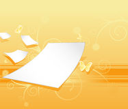 Floral bg. Floral yellow background with white papers Stock Images