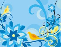 Floral Bird Background Series. Vector background with floral ornaments and an exotic bird stock illustration