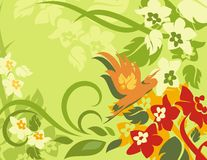 Floral Bird Background Series. Vector background with floral ornaments and an exotic birds royalty free illustration