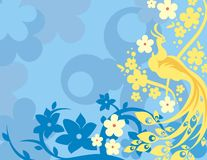 Floral Bird Background Series. Vector background with floral ornaments and an exotic bird vector illustration