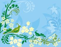Floral Bird Background Series. Vector background with floral ornaments and an exotic birds vector illustration