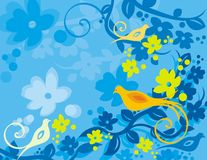 Floral Bird Background Series. Vector background with floral ornaments and an exotic birds stock illustration
