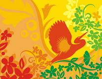 Floral Bird Background Series. Vector background with floral ornaments and an exotic bird royalty free illustration