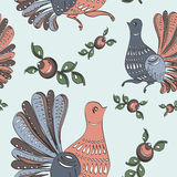 Floral and bird folk seamless pattern Royalty Free Stock Images