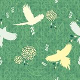 Floral and bird  seamless background. Royalty Free Stock Image