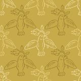 Floral Bird Seamless Vector Pattern. Boho Folk Flower, Peace Dove Flying Birdies. Hand Drawn Style Summer Illustration for Pretty Feminine Fashion Print stock illustration