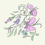 Floral and bird. vector illustration Royalty Free Stock Images