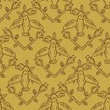 Floral Birds Seamless Vector Pattern. Boho folk. 1950s Retro Tiny Floral Birds Seamless Vector Pattern. Boho Folk Flower with Birds on Branch. Hand Drawn Summer vector illustration