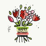 Floral birthday card for your design Stock Photo