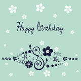 Floral birthday wish. Floral ornament with Happy Birthday wish Stock Image