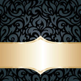 Floral Black & gold luxury retro wallpaper background Royalty Free Stock Images
