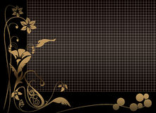 Floral black grid background Royalty Free Stock Photography