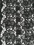 Floral black lace texture Stock Photos