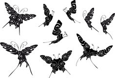 Floral black outlines of butterflies Stock Photography