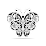 Floral black pattern in a shape of a butterfly isolated on white background. Royalty Free Stock Images