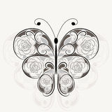 Floral black pattern in shape of a butterfly Stock Photos