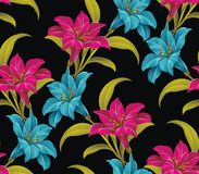 Floral black seamless background Royalty Free Stock Image