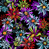 Floral black seamless pattern Royalty Free Stock Photo