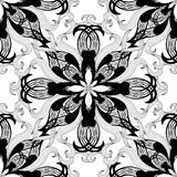 Floral black and white beautiful vector seamless pattern. Intric. Ate abstract ornamental background. Repeated vintage hand drawn paisley flowers, leaves. Line Royalty Free Illustration
