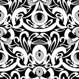 Floral black and white damask seamless pattern. Vector backgroun. D with hand drawn doodle vintage flowers, swirl leaves, baroque style ornaments. Isolated royalty free illustration
