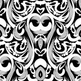 Floral black and white damask seamless pattern. Vector backgroun. D with hand drawn doodle vintage flowers, swirl leaves, baroque style ornaments. Isolated stock illustration