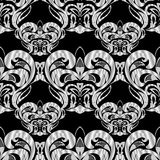 Floral black and white damask seamless pattern. Vector backgroun. D with hand drawn doodle vintage flowers, swirl leaves, baroque style ornaments. Isolated Stock Photo