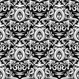 Floral black and white damask seamless pattern. Vector backgroun. D with hand drawn doodle vintage flowers, swirl leaves, baroque style ornaments. Isolated vector illustration
